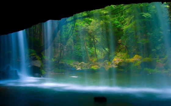 водопад, лес, природа Фон № 64692 разрешение 1920x1080
