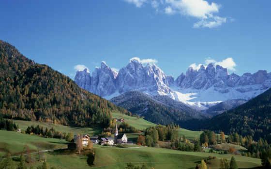 горы, луга, деревня