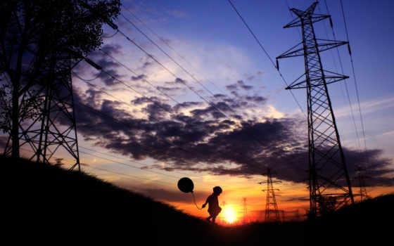 children, шары, линии, воздушные, electricity, электропередач, закат, play, бесплатные, pole,