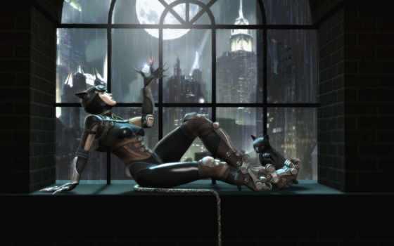 кот, женщина, gods, among, injustice, catwoman, batman, окно,