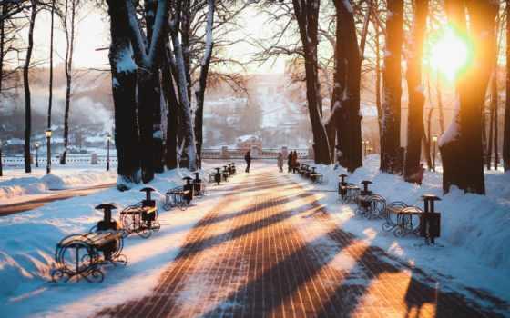 калуга, калуге, russian, город, park, winter, россия, мост, ока, снег,