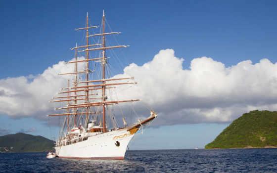 корабль, море, небо, облако, парусник, судно