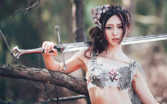 девушка, меч, оружие, женщина, digital, fantasy, воин, art, asian