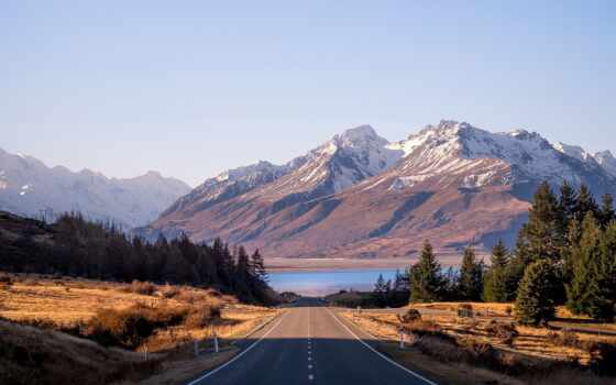 гора, дорогой, природа, небо, озеро, landscape, trendvision