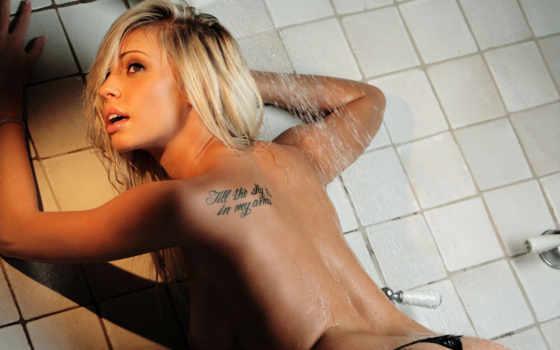 blonde, digital, bailey, роза, татуировка, девушка, desire, душ, мокрая, белочка,