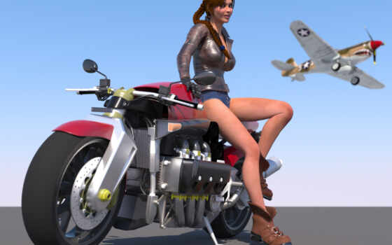девушка, самолёт, мотоцикл