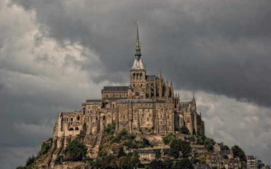 mont, michel, санкт, франция, castle,
