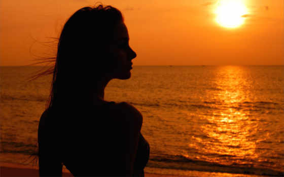 закат, море, девушка