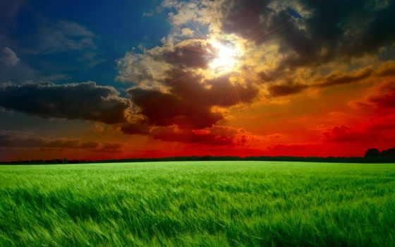 небо, oblaka, зеленые