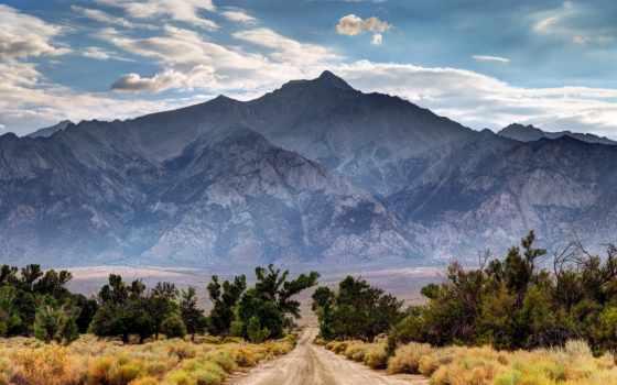 горы, дорога, landscape, дороги, trees, небо, лучшая, коллекция,