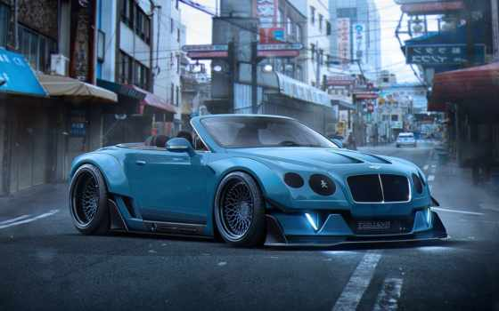 bentley, continental, тюнинг, stance, khyzyl, car, blue, будущее, кабриолет,