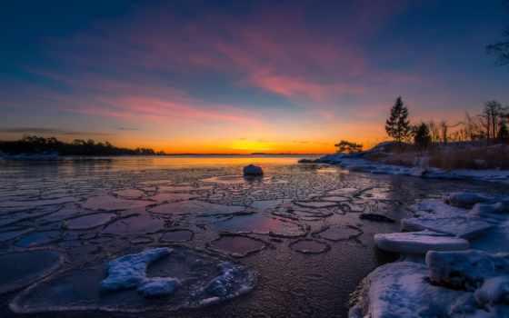 закат, winter, песок, картинка, sun, снег, планшетный,