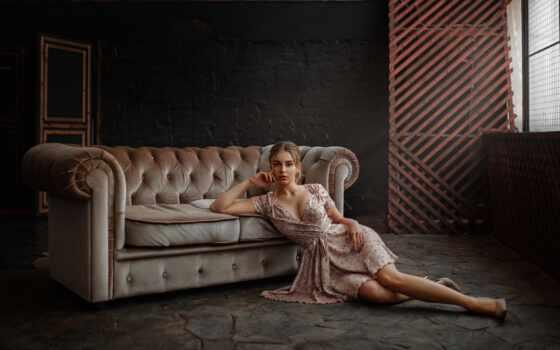 девушка, модель, диван, couch, платье, urev, aleksey, see, brunette