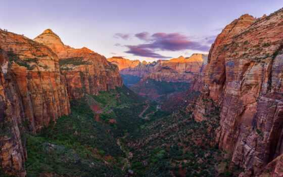 каньон, гора, overlook, national, trail, браун, дорога, природа, park, ураган
