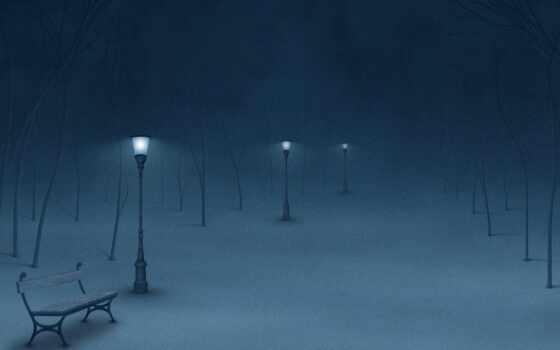 зима, ночь, фонари, зимнем, парке,
