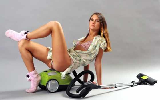 девушка, пылесос, vacuum