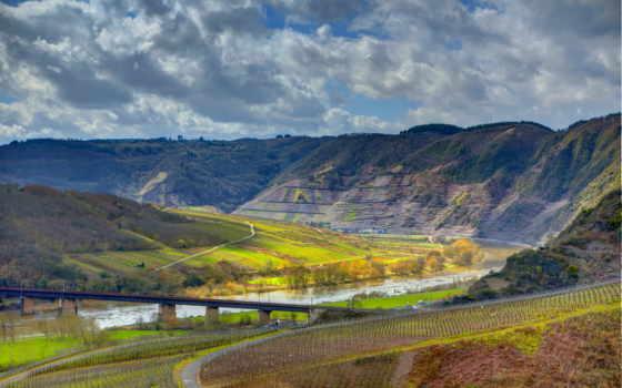 природа, german, eller, горы, река, эдигер, landscape, vineyard, мост, германии,