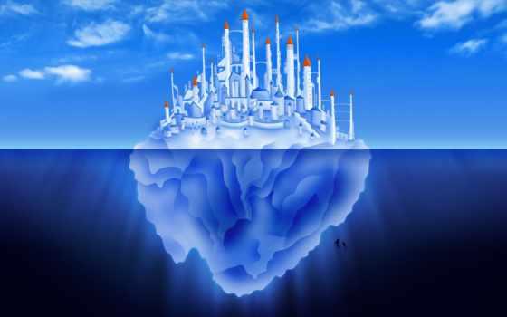 iceberg, море, inconscio, дельфин, дек, чё, город, one, click, анимация, underwater,