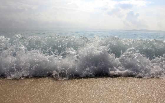 волна, песок, макро