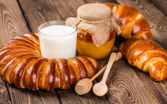 milk, мед, kruassannyi, хлеб, булочка, выпечка
