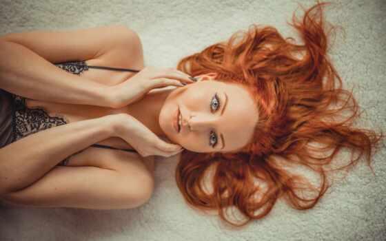 смотреть, девушка, волосы, модель, зелёный, рыжая