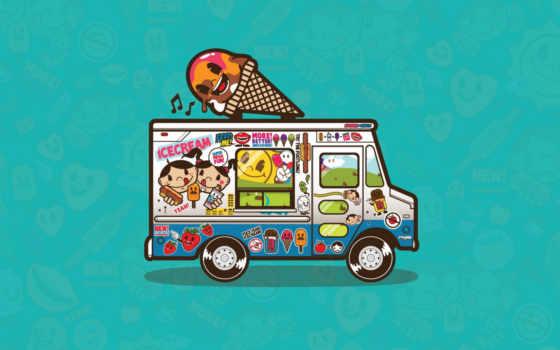 мороженое, фургон, вектор, fun, mega, concepts, art, graphics, super, чтобы, разрешении, широкоформатные, картинку, ice, helados, los, camión,