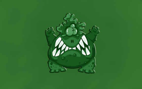 зелёный, зубастый, монстр, трехглазый, бородавочный, злой, картинка, seeman,