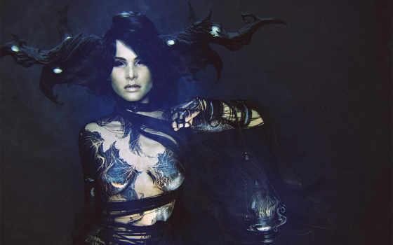 девушка, рога, татуировки