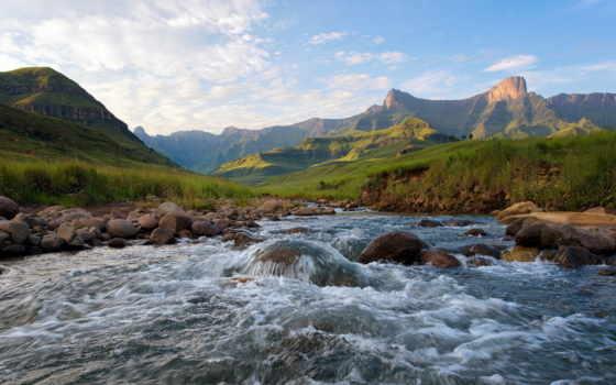 landscape, река, горы