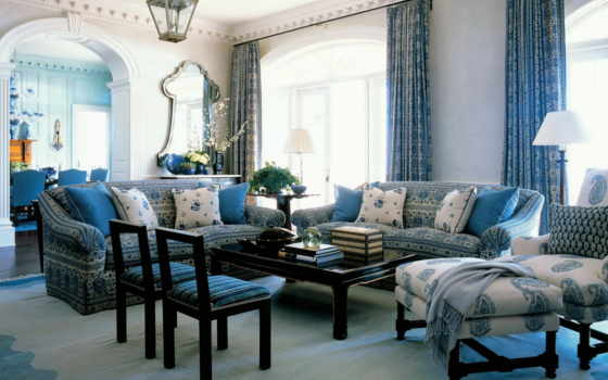 blue, интерьера, гостиной, ремонт, color, занавески, интерьере, квартир, интерьеров, алупка,