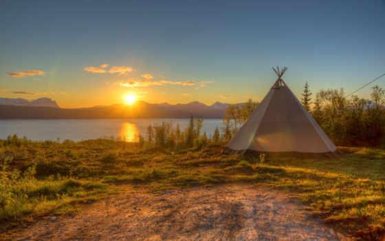 закат, озеро, sun, берег, небо, трава, tent, water, природа,