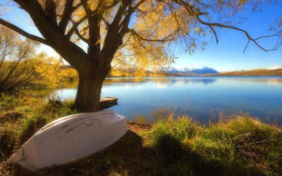 осень, лодка, full
