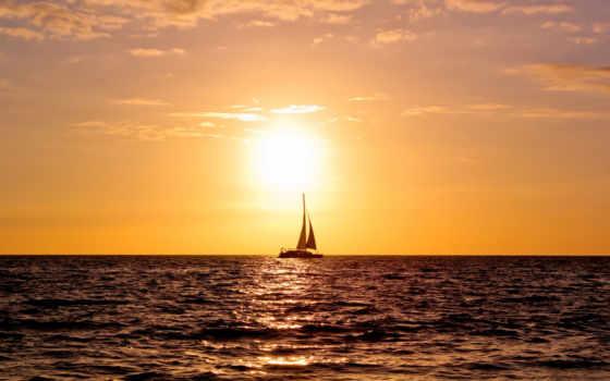 море, яхта, паруса, закат, ocean, яхты, катера,