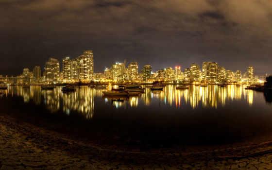 ночь, город, огни