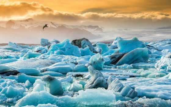 iceland, lagoon, ёкюльсаурлоун, ледниковая, голубая, озеро, browse, льдины, горы,