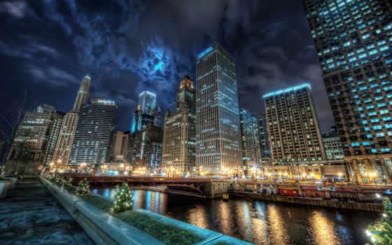 chicago, город, американский, огни, небоскребы, канал, usa, сша, иллинойс, hdr,