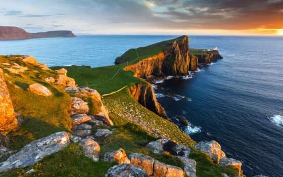 море, побережье, lighthouse, закат, point, природа, горизонт, rock, камень, scotia, шотландия