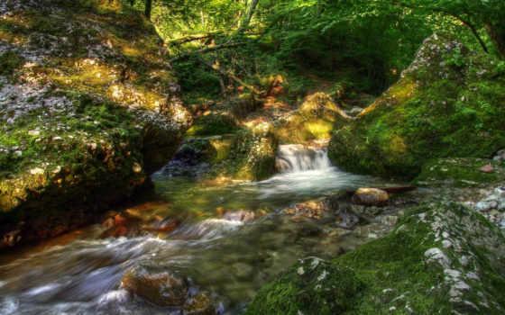 пейзаж, камни, ручей