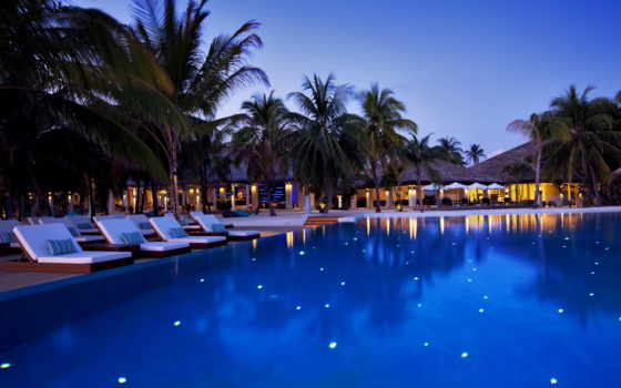 maldives, velassaru, бассейн, hotel, шезлонги, вечер, бассейны, пальмы,