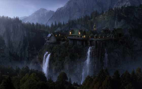 эльфийский, lord, rings, fantasy, castle, wood, imladris, вечер, rivendell, waterfalls, огни,