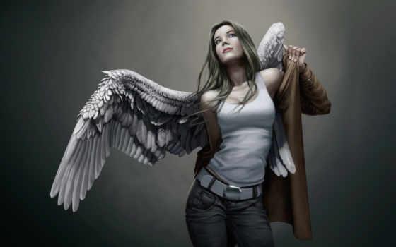 angel, девушка, крылья, рисунок, рубашка, плащ, ткань, плакат, одевается,