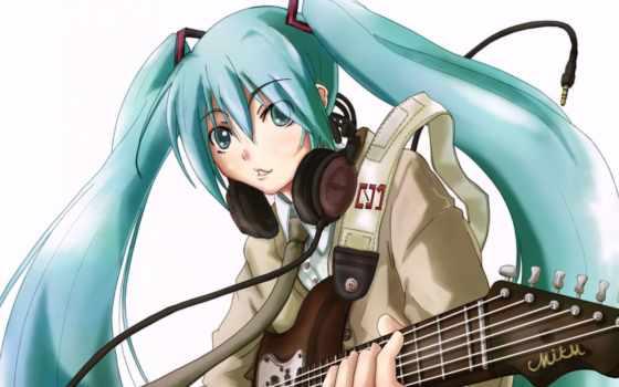 anime, hatsune, miku, девушка, menina, headphones,
