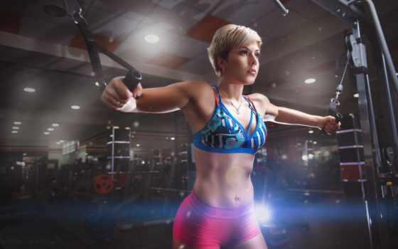 фитнес, девушка, спортзал,