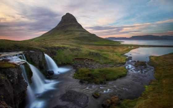 iceland, водопад, река, исландии, landscape, море, широкоформатные, bay, oboi, природа,
