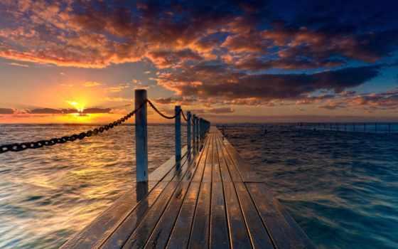 солнца, rising, ocean, мост, июль, time, природа, настроения, favourite, красивые, sun,