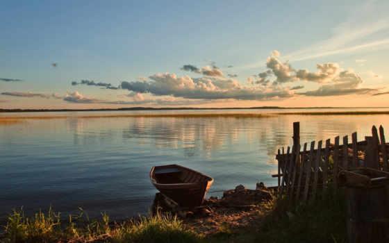 лодка, озеро, лодки, landscape, подводные, озера, категория, oblaka, закат, небо, природа,
