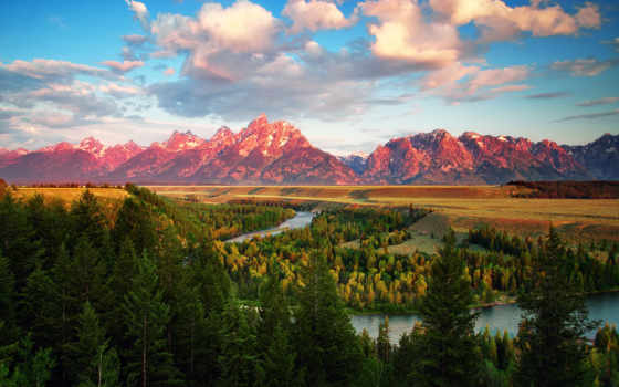 grand, teton, park, snake, сша, река, national, wyoming, горы,