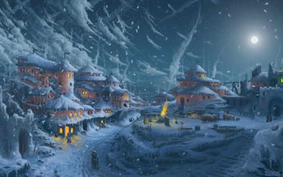 art, холод, девушка, снег, ночь, sylar, луна, куроко, дорога