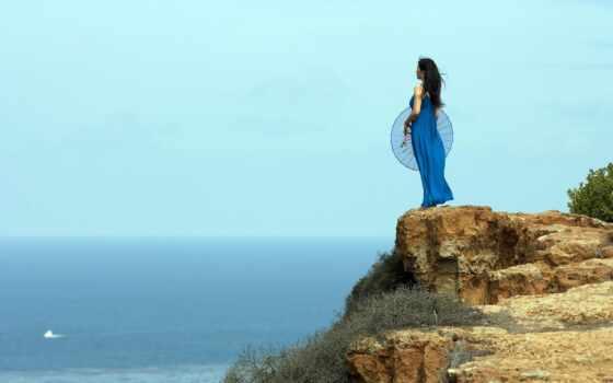 девушка, море, rock, платье, стальной, хороший, зонтик, blue, природа