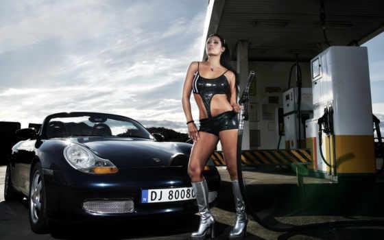 girl, car, девушки